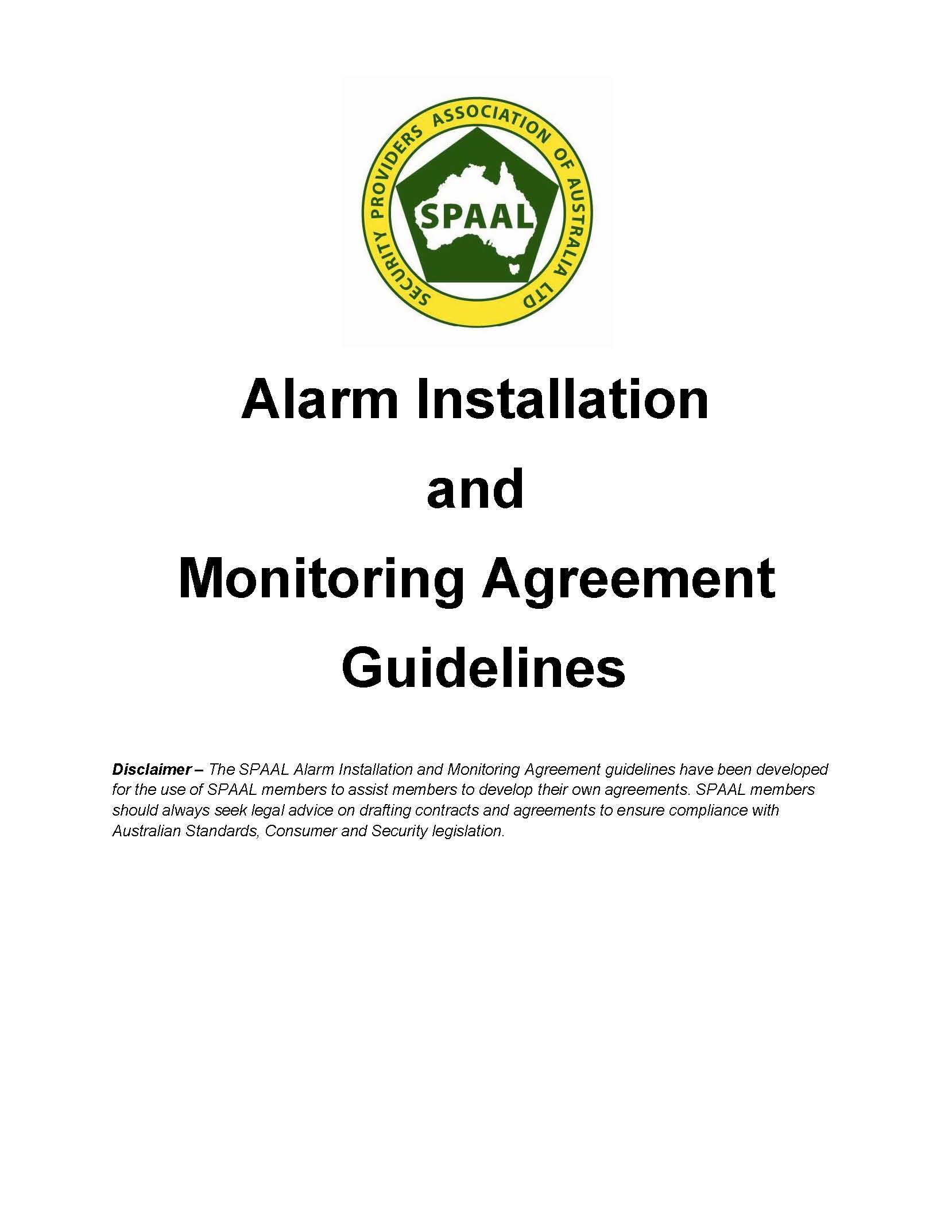 Alarm Installation Amp Monitoring Agreement Guidelines Spaal